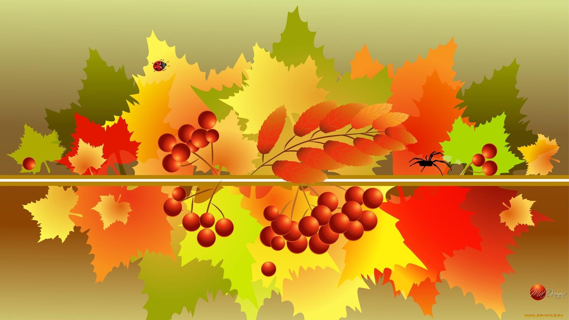 рябина листья осень без смс