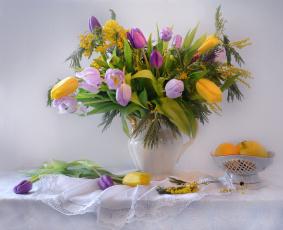 обоя еда, натюрморт, букет, весна, март, мимоза, праздничный, тюльпаны, фото, цветы