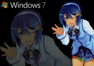 обоя компьютеры, windows 7 , vienna, фон, логотип, взгляд, девушка