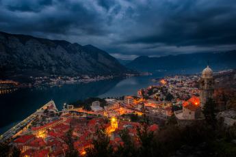 обоя kotor bay views, города, - огни ночного города, ночь, бухта