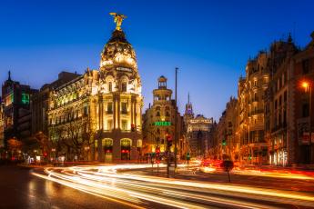 обоя madrid,  gran via, города, мадрид , испания, огни, ночь
