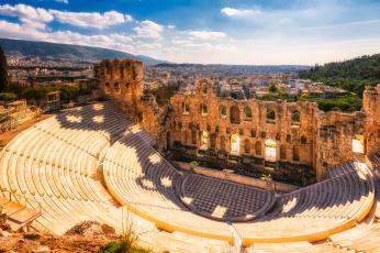 обоя athens,  odeon of herodes atticus, города, афины , греция, панорама