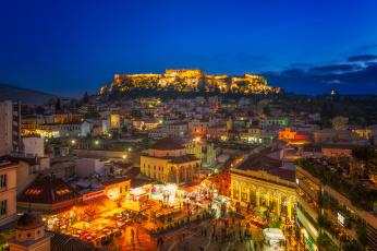 Картинка athens+monastiraki+square+at+night города афины+ греция панорама