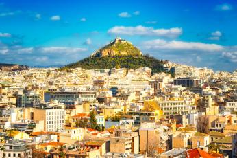 обоя athens mount lycabettus, города, афины , греция, панорама