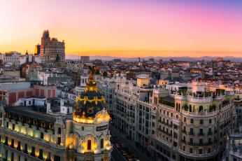 обоя madrid,  sunset panorama, города, мадрид , испания, панорама