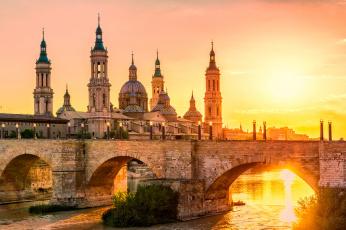 обоя zaragoza pilar sunset, города, - мосты, панорама