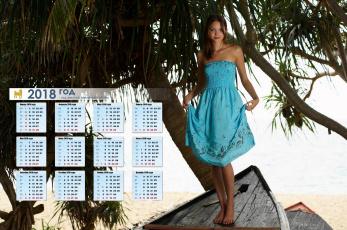 обоя календари, девушки, деревья, водоем