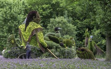 обоя разное, садовые и парковые скульптуры, красота, клумба, скульптура, озеленение, парк