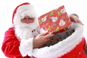 обоя праздничные, дед мороз,  санта клаус, санта, мешок, подарки