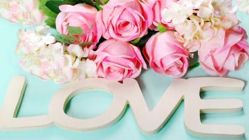 обоя праздничные, день святого валентина,  сердечки,  любовь, надпись, розы