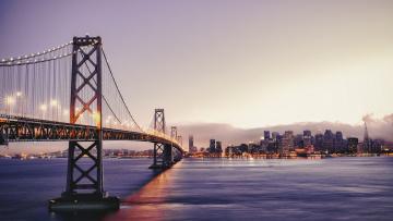 Картинка города сан-франциско+ сша панорама облака здания вечер огни закат дома золотые ворота река город мост