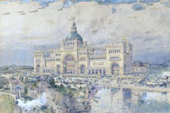 Картинка a+view+of+the+worlds рисованное frederick+childe+hassam небо тучи дворец люди здания