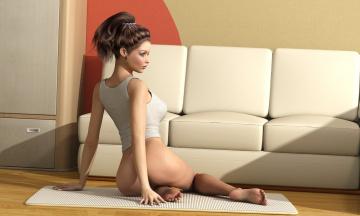 Картинка 3д+графика люди+ people девушка диван фон взгляд коврик