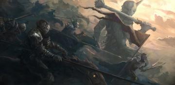 обоя фэнтези, нежить, армия, знамя, войны, гигант, оружие