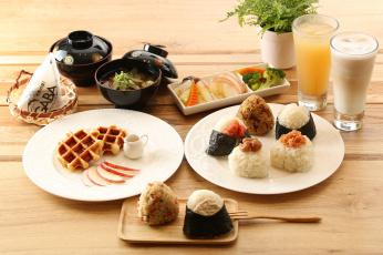 обоя еда, рыба,  морепродукты,  суши,  роллы, рис, овощи, завтрак, роллы, напитки, суп, вафли