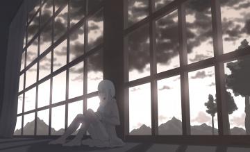 обоя аниме, город,  здания,  интерьер, konoescaper