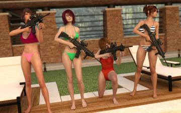 обоя 3д графика, фантазия , fantasy, взгляд, девушки, оружие, фон