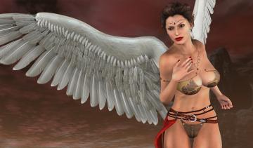 Картинка 3д+графика ангел+ angel фон взгляд девушка ангел