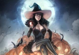обоя праздничные, хэллоуин, ведьма, летучие, мыши, ночь, эротика, halloween, луна, тыквы, арт, праздник, взгляд, поза