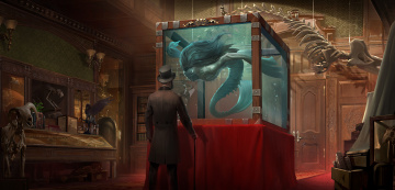 обоя фэнтези, существа, мужчина, трость, скелеты, аквариум, двери, музей, существо, человек, шляпа, арт, экспонаты, книги, цилиндр