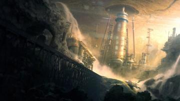 обоя фэнтези, иные миры,  иные времена, фантастика, sci-, fi, камень, завод, art