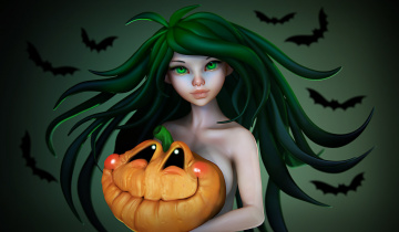 обоя праздничные, хэллоуин, арт, праздник, тыква, olya, anufrieva, девушка, настроение, летучая, мышь