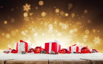 обоя праздничные, подарки и коробочки, праздник, снег, подарки, новый, год