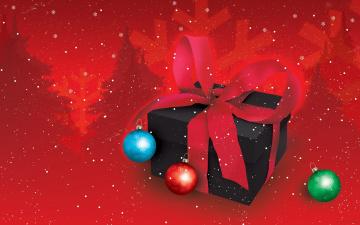 Картинка праздничные векторная графика новый год бант коробка шарики