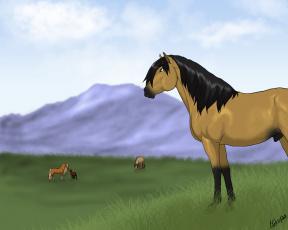Картинка рисованное животные +лошади небо горы луг трава лошади
