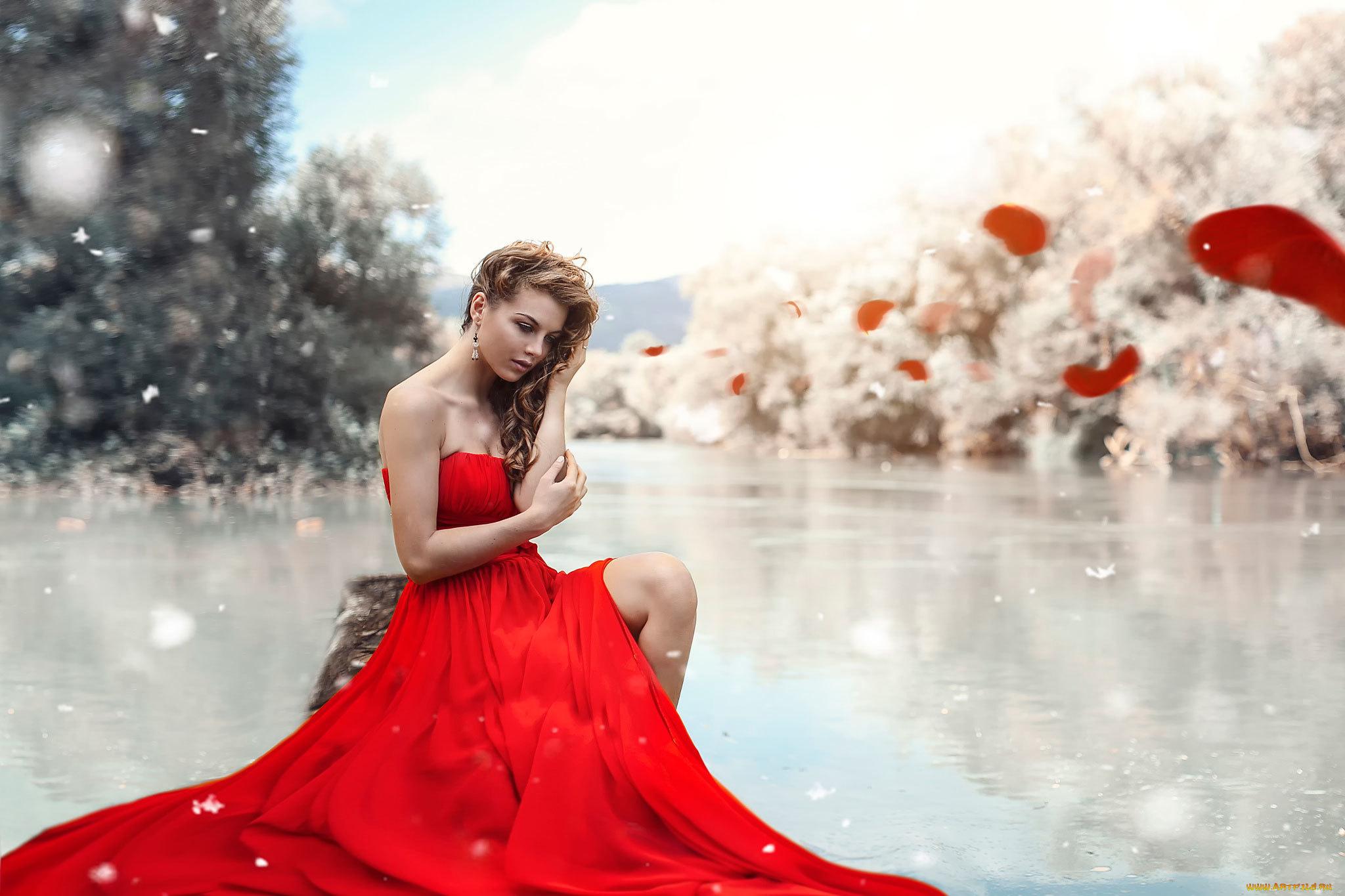 девушка зима платье красное лес без смс