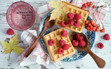 Картинка еда блины +оладьи рябина вафли малина