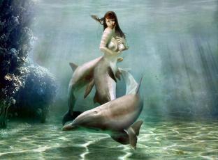 обоя фэнтези, фотоарт, фон, девушка, дельфин, взгляд
