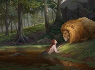 обоя фэнтези, красавицы и чудовища, фантастика, лев, природа, русалка