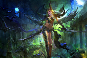 обоя фэнтези, демоны, меч, арт, воин, рога, фентези, девушка