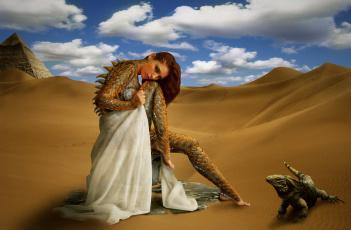 обоя фэнтези, фотоарт, пустыня, существо, взгляд, фон, девушка