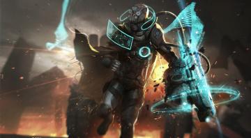обоя фэнтези, роботы,  киборги,  механизмы, взрыв, фантастика, разведчик, шлем, броня, костюм
