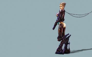 обоя фэнтези, роботы,  киборги,  механизмы, существо, взгляд, фон, девушка
