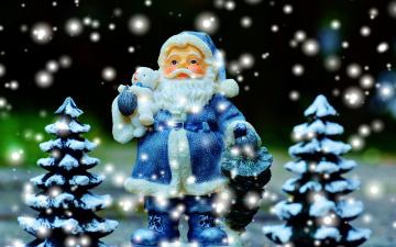 обоя праздничные, дед мороз,  санта клаус, снег, елки, санта, игрушечный