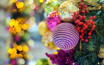 обоя праздничные, шары, шарики, елка