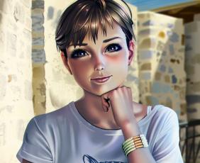 Картинка рисованное люди девушка фон взгляд