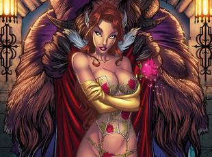 обоя фэнтези, красавицы и чудовища, арт, тело, эротика, девушка, белье, чудовище, красавица, грудь