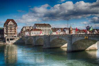 обоя города, - мосты, река, базель, швейцария, мост, дома