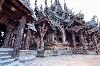обоя города, - исторические,  архитектурные памятники, паттайя, таиланд, святилище