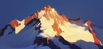 обоя рисованное, природа, гора