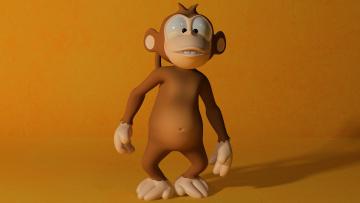 обоя 3д графика, юмор , humor, обезьяна