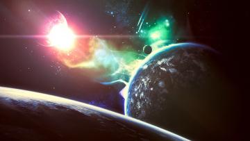 обоя космос, арт, сияние, звезды, планета