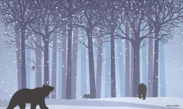 обоя векторная графика, животные , animals, медведи, лес