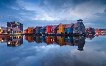 обоя города, - здания,  дома, облака, дома, голландия, нидерланды, озеро