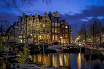 обоя города, амстердам , нидерланды, ночь, огни