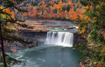 обоя природа, водопады, лес, река